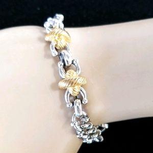 Vintage MONET Silver and Gold Chain Link Bracelet